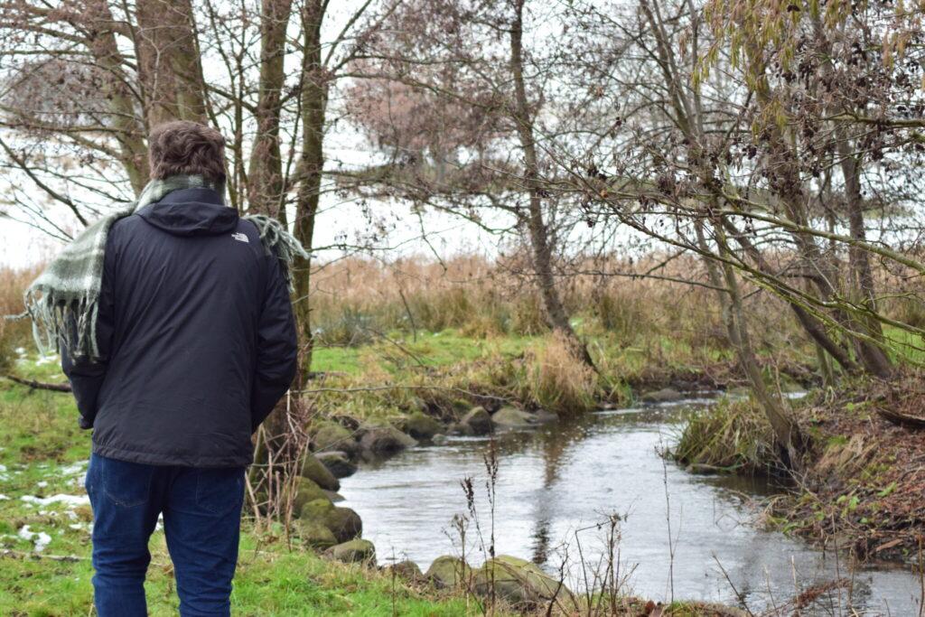Jesper og jeg kom ind i indhegningen på vestsiden af Måløv Rensningsanlæg. Her fortsatte Værebro å med at bugte sig, men nu var det bare meget smukkere! Her var i øvrigt ingen kreaturer, de var taget ind for vinteren. Vi gik ned langs for at se, om vi kunne finde flere Vandstær (Cinclus cinclus) og måske en Bjergvipstjert (Motacilla cinerea). Blog, Oplevelser/ Udflugter/ Felttur, Hyggetur, Ildfugl.com